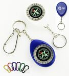 Custom Oval Shape Compass with Swivel Chain and Carabiner