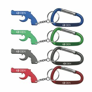 gun shape bottle opener with key chain carabiner bo3015 cb ideastage promotional products. Black Bedroom Furniture Sets. Home Design Ideas