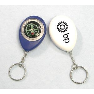 Oval Shape Compass Swivel Keychain