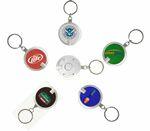 Custom Deluxe Coaster Shape Round Flashlight w/ Super Bright LED & Swivel Key Chain