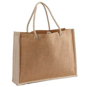 Custom Two-Tone Jute Beach bag with Thick Rope Handles
