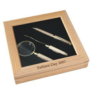Maple Magnifying Glass, Opener, Pen Deluxe Set