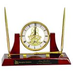 Custom Engraved Executive Gold/Rosewood Clock, Opener, and Pen Set