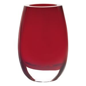"Crescendo Red European Mouth Blown Oval Thick Walled 7.5"" Vase"