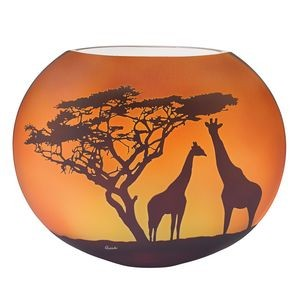 "Limited Edition Giraffe Savannah 9"" European Mouth Blown and Hand Decorated Vase"