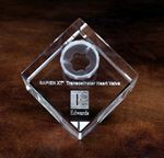 Custom Jewel Cut Crystal Cube Award (2 3/8