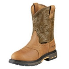Ariat® Men's Workhog® Pull-On H2O Boots (Aged Bark/Army Green)