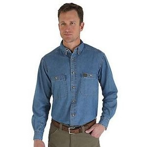 Wrangler® Men's RIGGS Workwear® Long Sleeve Denim Work Shirt (Antique Denim)
