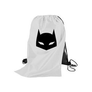 Super Hero Styled Sport & Flag Draw String Back Pack With Cape (1 color imprint)