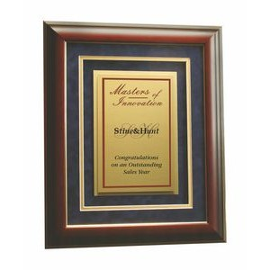 "Executive Series Imprinted Metal Award in Gold Trimmed Rosewood Frame 11""x13"""