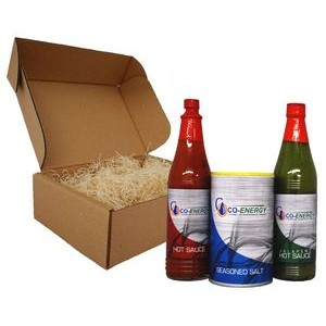 3-Pack Gift Set with Custom Labeled Cajun Hot and Jalapeno Hot Sauce & 8oz Cajun Seasoning