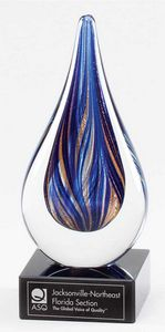 Blue and Gold Art Glass on Black Glass Base, 7