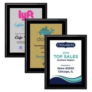 "9"" x 12"" High Gloss Black Finish Plaque w/ Full Color Sublimated Imprint"