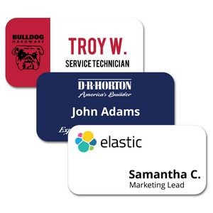 "1.5"" x 3"" Matte Plastic Name Badge w/Full Color Imprint & Personalization"