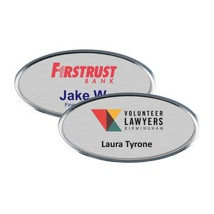 "Silver Framed Oval Name Badge w/Full Color Imprint & Personalization (2 3/8"" x 1 1/8"")"