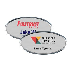 Silver Framed Oval Name Badge w/Full Color Imprint & Personalization (2 3/8 x 1 1/8)