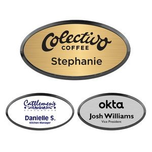 Engraved Oval Name Badge with Frame