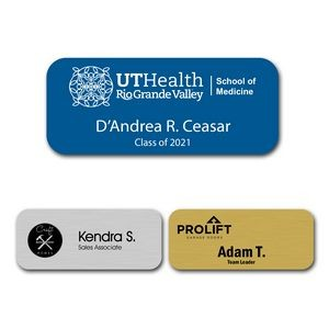 "Engraved Plastic Name Badge with Personalization 1.25"" x 3"""