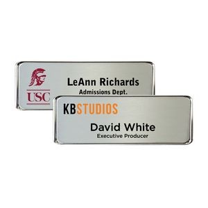 "Silver Framed Name Badge w/Full Color Imprint & Personalization (3 1/16"" x 1 1/16"")"