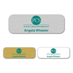 "1"" x 3"" Aluminum Name Badge w/Full Color Imprint & Personalization"
