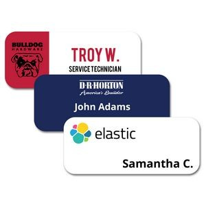 "1.25"" x 3"" Glossy Plastic Name Badge w/Full Color Imprint & Personalization"