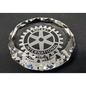 "3"" Round Crystal Faceted Paperweight Award"