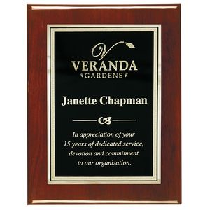 8 x 10 Rosewood Piano Finish Plaque w/Florentine Gold Engraving Plate