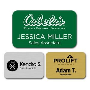 "Engraved Plastic Name Badge with Personalization 1.75"" x 3"""