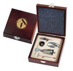 Custom Wine Accessories 5-Piece Gift Set in Mahogany Wooden Box