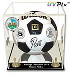 Custom UVPix Printed Soccer/Volleyball Display Case W/ Black Base