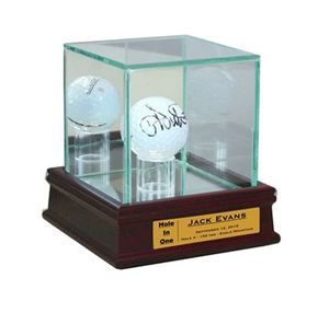 Premium Glass Golf Ball Display Case w/ Wooden Base