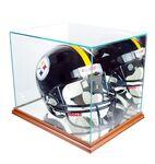 Custom Glass Display Case for Full Sized Football Helmet w/Wooden Base