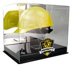 Custom UVPix Printed Full Size Hard Hat Display Case With Black Base and stand for hat