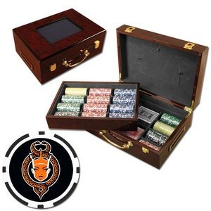 Poker chips set with Glossy wood case - 500 Full Color 8 Stripe chips