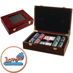 Poker chips set with Glossy wood case - 200 Full Color chips