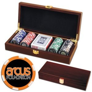 Poker chips set with Mahogany wood case - 100 Full Color 6 Stripe chips