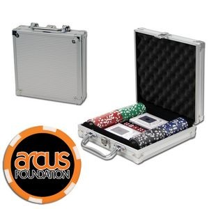 Poker chips set with aluminum chip case - 100 Full Color 6 Stripe chips