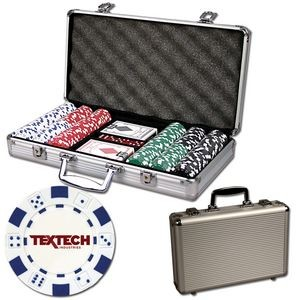 Poker chips set with aluminum chip case - 300 Dice chips