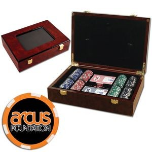 Poker chips set with Glossy wood case - 200 Full Color 6 Stripe chips