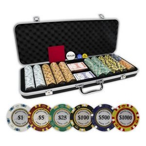 Clay Monte Carlo 14 gram 500 poker chips set with black ABS case