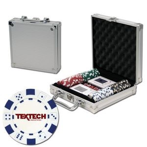 Poker chips set with aluminum chip case - 100 Dice chips