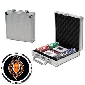Poker chips set with aluminum chip case - 100 Full Color 8 Stripe chips