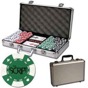 Poker chips set with aluminum chip case - 300 Card chips