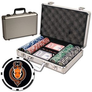 Poker chips set with aluminum chip case - 200 Full Color 8 Stripe chips