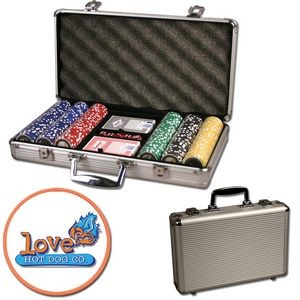 Poker chips set with aluminum chip case - 300 Full Color chips