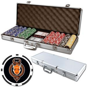 Poker chips set with aluminum chip case - 500 Full Color 8 Stripe chips