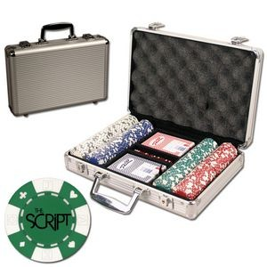 Poker chips set with aluminum chip case - 200 Card chips