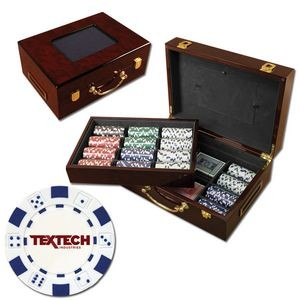 500 Foil Stamped poker chips in glossy wooden case - Dice design
