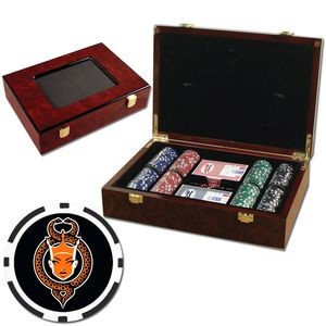 Poker chips set with Glossy wood case - 200 Full Color 8 Stripe chips