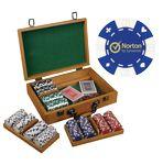 Custom 300 Foil Stamped poker chips in wooden Mahogany case - Card design
